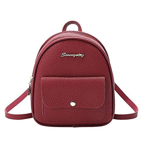 1 stks mini rugzak vrouwen pu lederen schoudertas voor tienermeisjes kindermode kleine bagpack vrouwelijke dames school rugzak, wijnrood