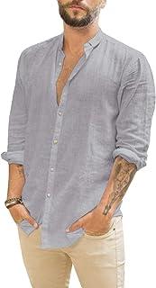 Mens Linen Shirts Long Sleeve Casual Button Up Loose Fit Beach Summer Shirts