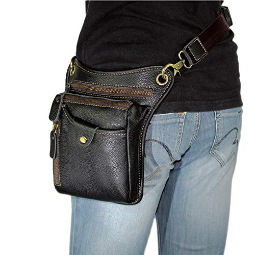 DK86 Genuine Leather Motorcycle Waist Pack Thigh Drop Leg Bag for Men and Women Black