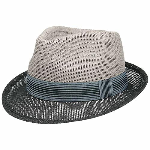 Lipodo Twotone Trilby Strohhut - Sommerhut Damen/Herren - Hut aus Stroh (Papierstroh) - Sonnenhut Frühjahr/Sommer - Strandhut schwarz-grau M (56-57 cm)