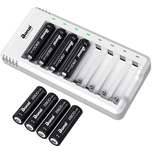 AA Rechargeable Batteries with Charger BONAI 8 Pack 2800mAh High Capacity Ni-MH Rechargeable AA Batteries with Charger AA Set (8-Slot Charger with USB & Independent Design for AA AAA)