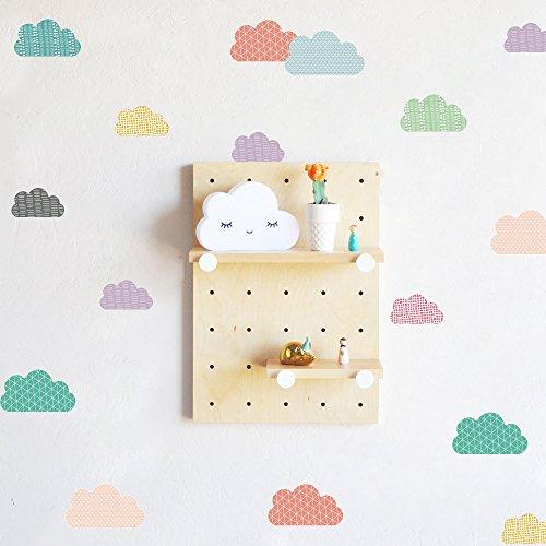 Muursticker, BlumWay lief kleurrijk behang vinyl sticker muurschildering kinderkamer decoratief papier blad babykamer wanddecoratie set wolk.