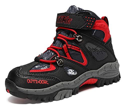 VITUOFLY Zapatillas de senderismo unisex para niños., color Negro, talla 26 EU