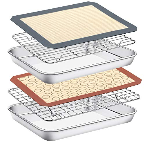 Baking Sheet with Rack Set & Silicone Mat, Set of 6[2 Sheets +2 Racks+2 Mats],Size 10x8x1 Inch, Estmoon Stainless Steel Cookie Sheet Baking Pan Tray with Cooling Rack Non Toxic &Heavy Duty ,Oven Safe
