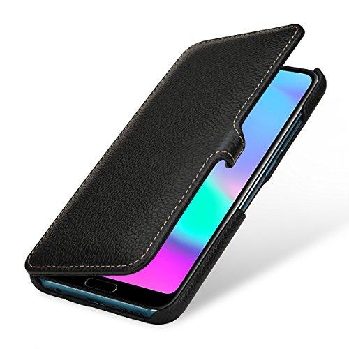 StilGut Book Type Lederhülle kompatibel mit Huawei Honor 10. Seitlich klappbares Flip-Hülle aus Echtleder, Schwarz mit Clip