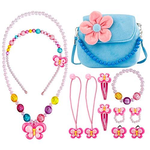 Mädchen-Handtasche,Comius Sharp Kinderschmuck Kleine Mädchen Plüsch-Handtasche, mit Halskette Armband Ring und Ohrring Schmuckset, Prinzessinnen-Design, modisch,Blumenmuster, Handtasche (blau)