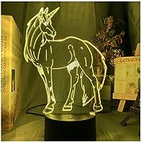 3Dイリュージョンナイトライト かわいい動物の馬 スマートタッチ LED3Dキッズおもちゃベビースリープデスクランプ寝室の装飾ベッドサイドスマートタッチ7色変化する調光可能、女の子の男の子のための最高のおもちゃの誕生日