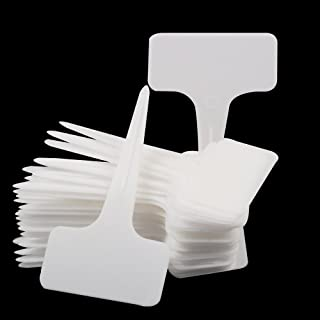 Oldhill Thick Plastic White Plant Labels Garden Labels T-type Plant Tags (100)