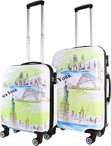 normani Hartschalen ABS Kofferset 2 TLG Reisekofferset mit Motiv Farbe New York