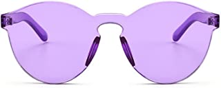 Azoxus Oversized One Piece Rimless Tinted Sunglasses Clear Colored Lenses