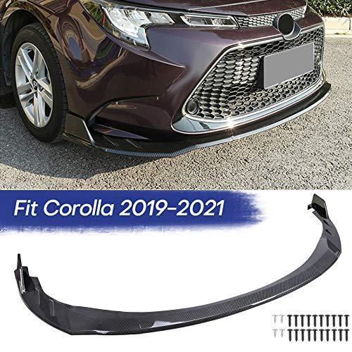 Fits Toyota Corolla 2019 2020 2021 Front Bumper Lip Body Kit Spoiler 1 Set, Black with Carbon Fiber Pattern
