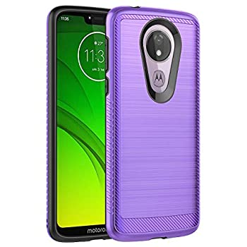 Moto G7 Power Case,Moto G7 Supra Case,Moto G7 Optimo Maxx Case,MAIKEZI Hybrid Dual Layer TPU Plastic Armor Defender Fashion Phone Case Cover for Motorola Moto G7 Power Purple Brushed