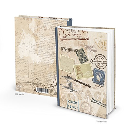 Pequeño Vintage Nostalgie Viaje Diario Libro de viaje DIN A5sellos 136vacías páginas blancas para selbstgestalten–También como Cuaderno Diario Notebook–Un en blanco libro con Hard Cover.