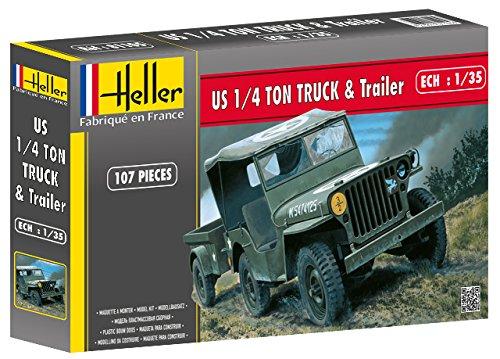 Heller - 81105 - Maqueta para Construir - US 1/4 Ton Truck & Trailer - 1/35