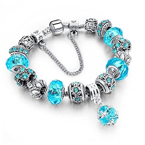 Naisicatar Pulsera De Cristal Brazalete con La Pulsera De Cristal De Perlas Curación para Mujeres Niñas Azul