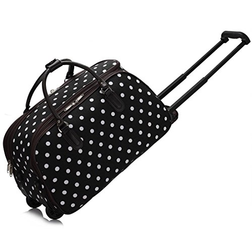 LeahWard Women's Girl's Holdall Luggage Bag Hand Baggage Travel Suitcase Holiday School Bags 005 (S Black DOTS)
