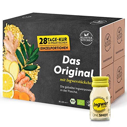 Kloster Kitchen JengibreTRINK Shot - Premiados shots de jengibre, 28 botellas de vidrio de 30 ml, con trozos de jengibre orgánico y vegano