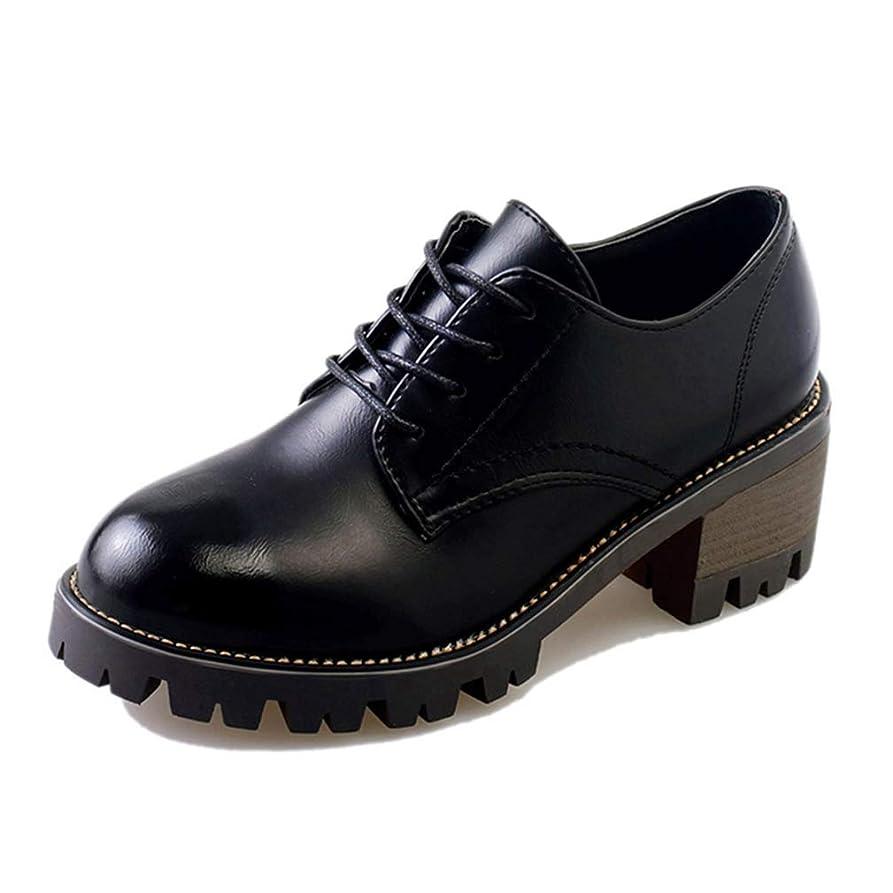 続編ピカリングアジア[XYJP] シューズ 靴 英国風 チャンキーヒール 厚底ローファー レー ローヒール レースアップ マニッシュシューズ 裏起毛 歩き心地 疲れない 痛くない 低反発 ブラックエナメル シンプル
