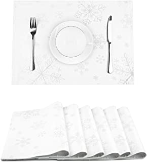 LAVIN Christmas Placemats Set of 6,Non-Slip Snowflakes Table Mats for Dining Table,Double Layer Heat Resistant,Durable Place Mats for Thanksgiving,Weddings,Party,Everyday Use,Silver,13x19 Inch