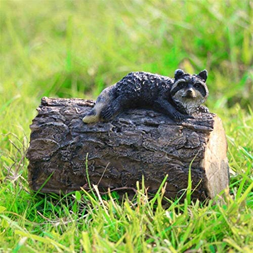 Garden Ornaments Outdoor Statues Raccoon Ornament Outdoor Garden Courtyard Decoration Creative Cute Small Animal Simulation Gardening Landscape Decoration for Patio,Lawn,Yard Decor,Housewarming Garden