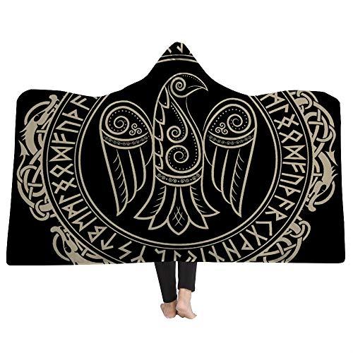 EVEYYWYPersonalidad Capa 3D Manta con Capucha Manta Tribal Viking Throw Manta CreativaMantas con Capucha para Adultos Manta cálida para niños Capa con Capucha Capa cálida-L (150cm * 200cm)