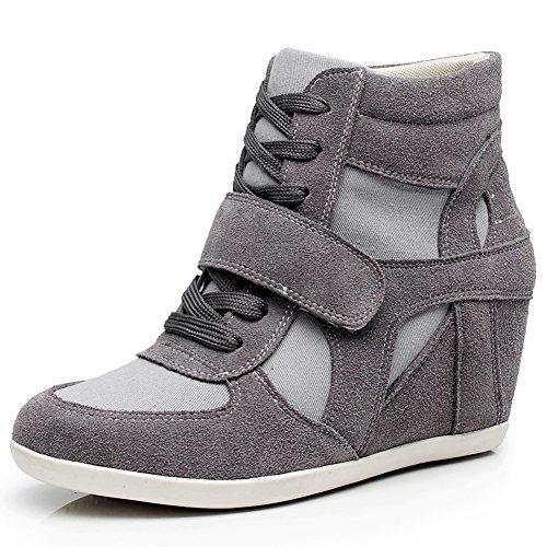 rismart Mujer Tacón De Cuña Velcro Brogue Casual Ante Zapatillas Zapatos 8522(Gris Oscuro,EU39)