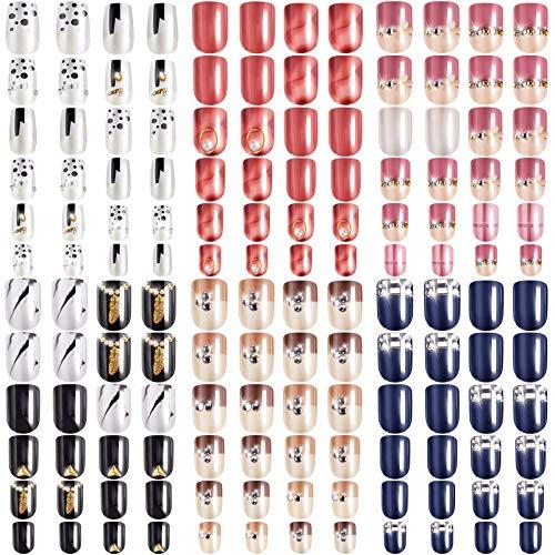 144 Stücke 6 Boxen Kurz Quadratische Aufdrücken Falsche Nägel mit Strass Blumen Textur Glänzend Künstliche Nagelspitzen Vollabdeckung Künstliche Nägel für Nagel Salon Kunst DIY Dekoration