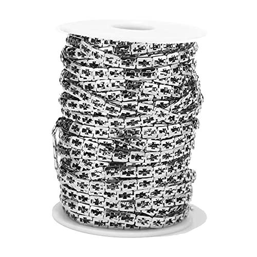 non-brand Lote de Eslabones de Cadenas Chapadas en Plata de Cadena de Cable para Hallazgos de Joyería de Collar de Bricolaje