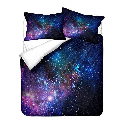 WENYA Ropa de Cama Galaxia Estrellado Cielo 3D Planeta Estrellas Misterioso Espacio Juego de Cama Azul Púrpura Rojo Vórtice Negro Agujero Funda nórdica (Galaxy 1, 180x220 cm - Cama 105 cm)