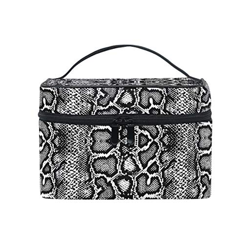 HaJie - Bolsa de maquillaje de gran capacidad, diseño vintage con estampado de serpiente, para viaje, portátil, neceser, bolsa de almacenamiento, bolsa de lavado para mujeres y niñas