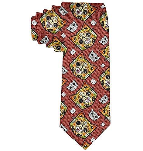 Hombre Calavera Día de los muertos Corbata de gato Poliéster Seda Suave Business Gentleman Tie Corbata