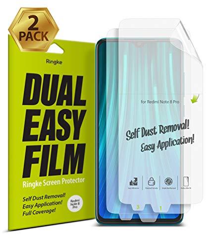 Ringke Dual Easy Film [2 Unidades] Diseñado para Protector de Pantalla Xiaomi Redmi Note 8 Pro (6.53'), Protección Clara Fácil de Instalar Cobertura Total Protector Pantalla Redmi Note 8 Pro (2019)