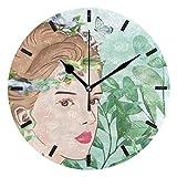円形時計 女 顔 はなわ 掛け時計 置き時計 連続秒針 静か 部屋装飾 シンプル デザイン 電池式 音無し 図書館 部屋 子供 プレゼント 引越し祝い プレゼント