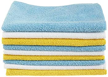 Amazon Basics Blue White and Yellow Microfiber Cleaning Cloth 12 x16  - Pack of 24