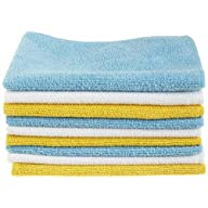 AmazonBasics Blue, White, and Yellow Microfiber Cleaning Cloth Folded Stack