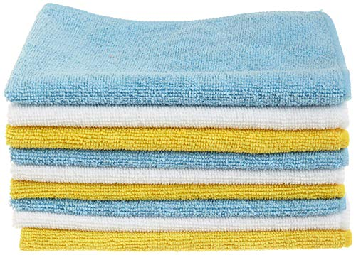 "Amazon Basics Blue, White, and Yellow Microfiber Cleaning Cloth 12""x16"" - Pack of 24"