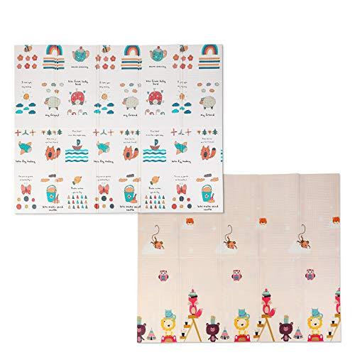Bamny Babymatte Spielmatte Baby Puzzlematte Faltbarer Krabbelmatte XPE-Schaumboden, Doppelseiten spielbar, Wasserdicht, Rutschfest, BPA Frei, 200 * 180 * 1cm - Tierparadies