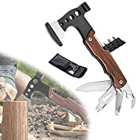 9 in 1 Ultralight Survival Axe, Multitool Camping Survival Accessories Tools, with Knife, Hammer, Opener, Screwdriver Kit, Cool Multi Gadgets (Wood color)