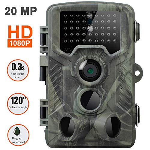 SUGERYY [2019 Upgraded Trail Cam Game Camera for Hunting Wildlife Tracking,20MP Hunting Trail Camera HD 1080P 42LED Wildlife Scouting Cam Night Vision IR Camera