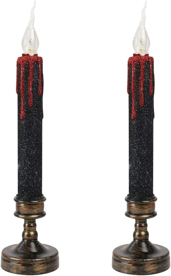 FRCOLOR 2Pcs Luxury goods Halloween Candle Shape Sale LED Lights Lamp f Decorative