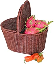 Home Living Museum/Rattan Wicker Picnic Basket Storage Basket Shopping Basket Shopping Basket Covered Outdoor Basket Gift ...