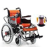 DJP Sillas de Ruedas, Ancianos, Discapacitados Scooter Silla de Ruedas Eléctrica Silla de Ruedas Eléctrica Ligera Plegable, Naranja