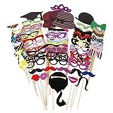 JZK 76x Photobooth Party Foto Verkleidung Schnurrbart Lippen Brille Krawatte Hüten Photo Booth...