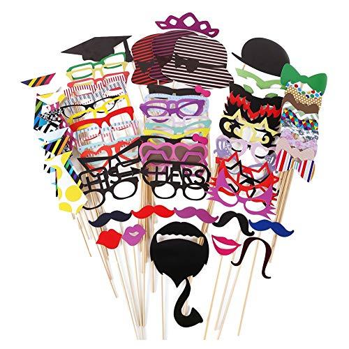 JZK 76x Photobooth Party Foto Verkleidung Schnurrbart Lippen Brille Krawatte Hüten Photo Booth Props Hochzeit Partymitbringsel Zubehör Set