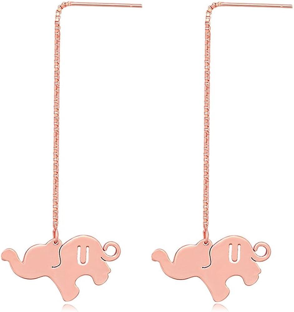 TUSHUO Alphabet Elephant Earrings Rose Gold Dangle Style Hollow 26 Letters Elephant Chain Earrings (U)