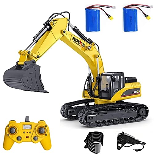 HUINA 1580 V4 Full Metal RC Excavator 23 Channel 2.4GHz Digger Construction Vehicle Hobby Professional Grade Remote Control Tractor Toy Smoke LED Lights and Sounds - 2 Rechargeable Batteries