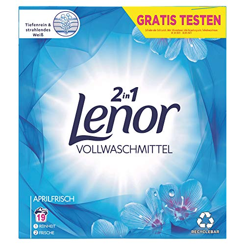 Lenor Waschmittel Pulver, Waschpulver, Vollwaschmittel, Lenor Aprilfrisch mit Duft von Frühlingsblumen, 19 Waschladungen (1.235 kg)