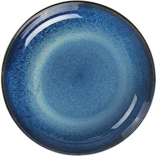 Plato 20,5/25 cm Horno de Personalidad Plato de cerámica Azul esmaltado Plato de Ensalada Plato de Sopa Plato de arroz Plato Plato hogar (tamaño: 20,5 cm) zzyyllyz