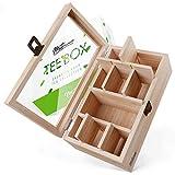 Metranos® Premium Teebox aus Bambus (28x16x9 cm) - Extra große Sichtscheibe aus Glas - 9...