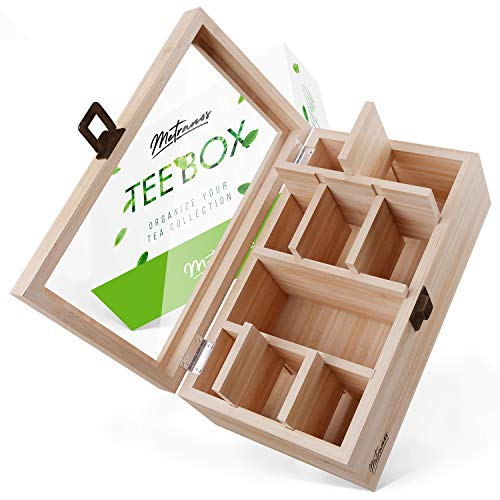 Metranos® Premium Teebox aus Bambus (28x16x9 cm) - Extra große Sichtscheibe aus Glas - 9 individuell verstellbare Fächer - Teekiste mit extra tiefem Deckel - Teebeutel Aufbewahrungsbox - Tee Box